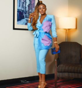 Ini Edo rocked a Power Suit to a Wedding